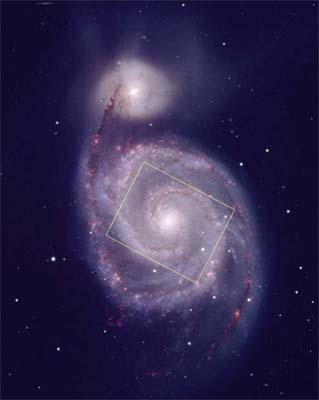 [M51, HST field in KPNO pic]