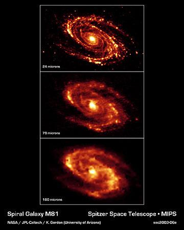 [M81 at different IR wavelengths, Spitzer]
